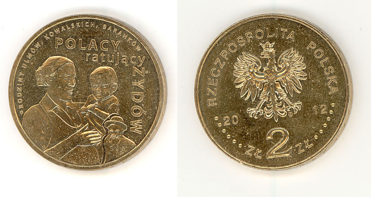 "Coin from the National Bank of Poland series ""Poles rescuing Jews"". The Ulm, Kowalski and Baranek families are the best known examples of Poles murdered by the Germans for rescuing Jews during World War II. At least a few hundred Poles died for taking the risk of helping Jews on actual pain of death. 1. Józef and Wiktoria Ulm of Markowa (Podkarpacie - southern Poland) murdered on March 24, 1944 together with their children, the eldest Stasia (8 years old), Basia, Władzio, Franuś, Antosia and Marysia and the hiding Jews: six memebrs of the Szall (Szali) family of Łańcut and two daughters of Chaim Goldman. When she died, Józefa Ulm was nine months' pregnant with their seventh child. 2. Wincenty and Łucja Baranek of Siedliska near Miechów murdered on March 15, 1943 together with their children: the eldest Henryk (aged 12), Tadeusz and Wincenty's mother , Katarzyna Kopeć, and the Jewish family of four, the Koplewicz's, whom they were hiding. 3. The family of Adam and Bronisława Kowalski of Ciepielów near Lipsko, and the families of Piotr Obuchiewicz, Franciszeka Kosior and the Skoczylas' (34 people). Murdered by the Germans on December 6, 1942 for rescuing Jews – their friends and neighbors."