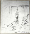 Dachau — suspension by the arms, one of the most cruel punishments used in Dachau. /KL Dachau prisoner Father Władysław Sarnik's drawing from the camp 1940−1945 (Maria Sarnik's private collection)