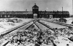 The entrance gate to the Auschwitz-Birkenau camp. January 1945. (IPN)