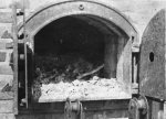 Concentration camp at Majdanek after liberation in 1944. The interior of the crematorium furnace with burnt human remains. (IPN)