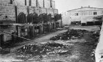 Remains of carbonized corpses lying around near the crematorium ovens at Majdanek. Photograph taken after the liberation of the camp in July 1944. (IPN)