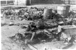 Transit camp in Żabikowo near Poznań after liberation in January 1945. The evacuating Germans set the camp on fire and shot some of the prisoners. Their bodies were also burned. (IPN)