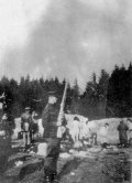 Executions of Jews in Ponary; in the foreground a Lithuanian policeman (IPN).